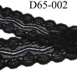 dentelle noir largeur 65 mm lycra élastique couleur noir lumineux vendue au mètre