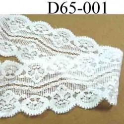 dentelle blanche largeur 65 mm lycra élastique couleur blanc lumineux vendue au mètre