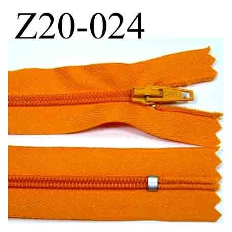 fermeture éclair longueur 20 cm couleur orange non séparable zip nylon largeur 2.5 cm