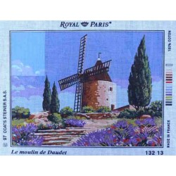 Canevas 45x60 marque ROYAL PARIS le moulin de daudet dimension 45 centimètres par 60 centimètres 100 % coton