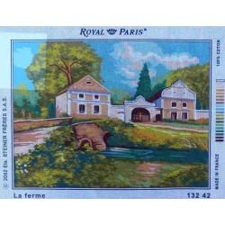 Canevas 45x60 marque ROYAL PARIS la ferme dimension 45 centimètres par 60 centimètres 100 % coton