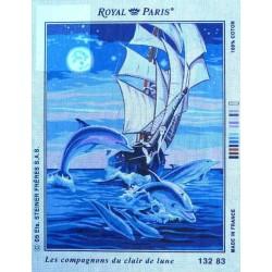 Canevas 45x60 marque ROYAL PARIS les compagnons du clair de lune dimension 45 centimètres par 60 centimètres 100 % coton