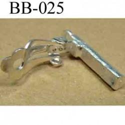 accessoire biche de bere pour boucle d'oreille métal couleur argent  hauteur 25 mm épaisseur 5 mm vendu a la pièce