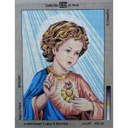 canevas 40x50 marque SEG PARIS le divin enfant dimension 40 centimètres par 50 centimètres 100 % coton