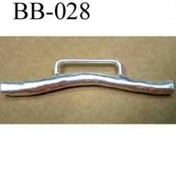 accessoire fermoir  largeur 75 mm hauteur 15 mm biche de bère en métal couleur argent largeur intérieur 27 mm
