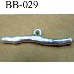 accessoire fermoir  largeur 38 mm hauteur 9 mm biche de bère en métal couleur argent diamètre anneau intérieur 2 mm