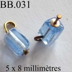 perle rectangle biche de bere en verre monté hauteur 8 mm largeur 5 mm couleur bleu vendu a la pièce