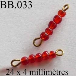 perle  biche de bere  monté  largeur 24 mm diamètre 4 mm  couleur orange rouge vendu a la pièce