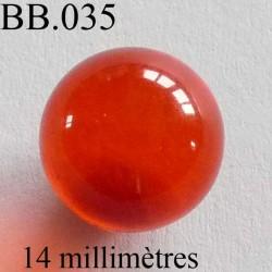 perle BICHE DE BERE couleur orange non percé diamètre 14 millimètres POUR REPARER OU CREER VOS BIJOUX BICHE DE BERE