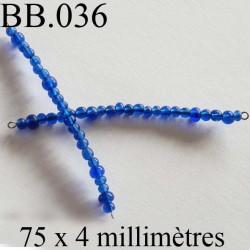 perle biche de bere monté longueur 75 mm diamètre 4 mm couleur bleu vendu a la pièce