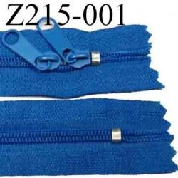 fermeture éclair longueur 215 cm couleur bleu non séparable zip nylon largeur 2.5 cm largeur du zip 4 mm double curseur