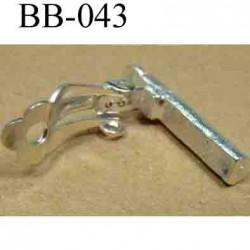 accessoire biche de bere pour boucle d'oreille métal couleur argent hauteur 37 mm épaisseur 5 mm vendu a la pièce
