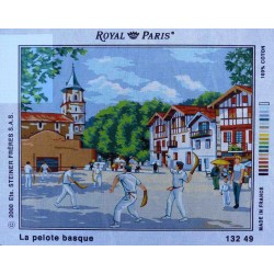 Canevas 45x60 marque ROYAL PARIS la PELOTE BASQUE dimension 45 centimètres par 60 centimètres 100 % coton