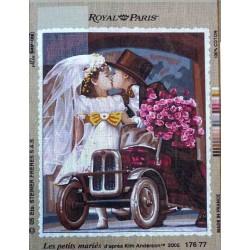 Canevas 45x60 marque ROYAL PARIS les petits mariés dimension 45 centimètres par 60 centimètres 100 % coton
