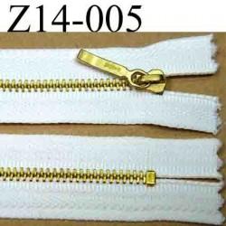 fermeture éclair YKK blanche longueur 14 cm couleur blanc non séparable largeur 2.8 centimètres zip métal largeur 4 mm
