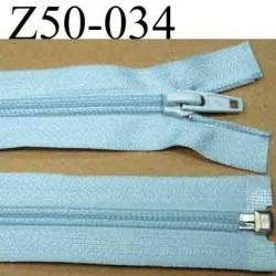 fermeture éclair longueur 50 cm couleur bleu  séparable  largeur 3 cm zip nylon largeur 6.5 mm