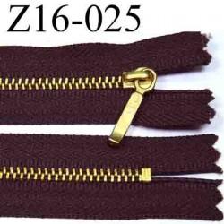 fermeture éclair YKK longueur 16 cm couleur marron non séparable  largeur 2.5 cm zip métal largeur du zip 4 mm