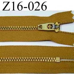 fermeture éclair YKK longueur 16 cm couleur marron caramel non séparable largeur 2.5 cm zip métal largeur du zip 4 mm