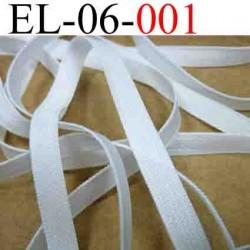 élastique plat et fin largeur 6 mm couleur blanc vendu au mètre