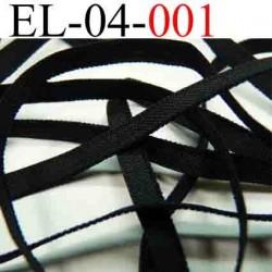 élastique plat et fin largeur 4 mm couleur noir vendu au mètre