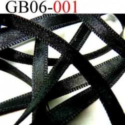 biais galon ruban couleur noir satiné lumineux double face  largeur 6 mm vendu au mètres
