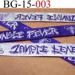 biais galon ruban satin brillant couleur violet et argent double face inscription strass superbe largeur 15 mm vendu au mètres