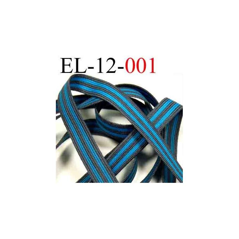 Lastique plat largeur 12 mm couleur bleu turquoise et for Couleur turquoise et gris