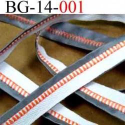 biais galon ruban couleur blanc gris et orange  largeur 14 mm vendu au mètres