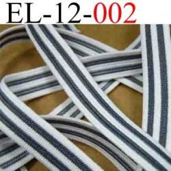 élastique plat largeur 12 mm couleur blanc et gris vendu au mètre