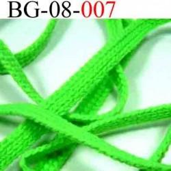 biais galon cordon bracelet lacet largeur 8 mm couleur vert fluo vendu au mètre