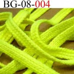 biais galon cordon bracelet lacet largeur 8 mm couleur jaune fluo vendu au mètre