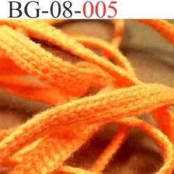 biais galon cordon bracelet lacet largeur 8 mm couleur orange fluo vendu au mètre