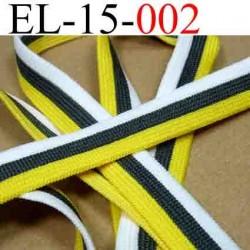 élastique plat souple belle qualité couleur gris blanc et jaune largeur 15 mm vendue au mètre