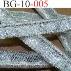 galon biais ruban passe poil façon argent largeur 10 mm couleur argent silver brillant strass vendu au mètre