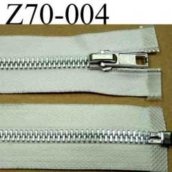 fermeture éclair blanche écru longueur 70 cm couleur blanc écru séparable largeur 3 cm glissière métal largeur 6 mm