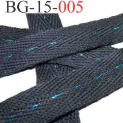 biais galon ruban couleur gris avec des traits bleu turqoise brillant au milieu double face largeur 15 mm vendu au mètres