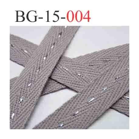 biais galon ruban couleur gris avec des strass  brillant au milieu double face largeur 15 mm vendu au mètres