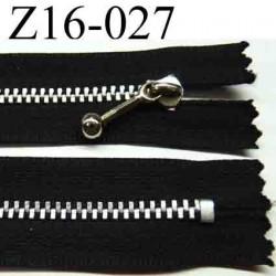 fermeture éclair longueur 16 cm couleur noir non séparable largeur 2.5 cm glissière métal largeur 4.5 mm