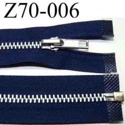fermeture   éclair  longueur 70 cm couleur bleu marine  séparable largeur 3 cm glissière métal largeur 6 mm