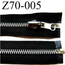 fermeture   éclair  longueur 70 cm couleur noir  séparable largeur 3 cm glissière métal largeur 6 mm