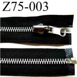 fermeture éclair longueur 75 cm couleur noir séparable largeur 3 cm glissière métal largeur 6 mm