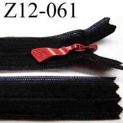 fermeture  éclair invisible longueur 12 cm largeur 2 cm couleur noir curseur rouge non séparable glissière zip nylon
