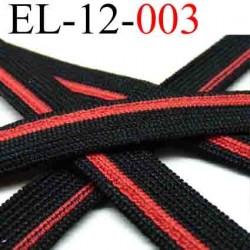 élastique plat largeur 12 mm couleur rouge et noir vendu au mètre