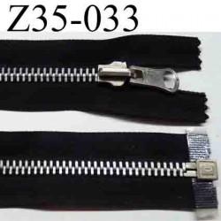 fermeture éclair réversible 35 cm couleur noir séparable zip métal largeur 3 cm largeur du zip 6 mm