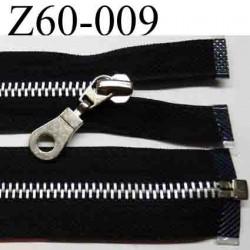 fermeture éclair réversible longueur 60 cm couleur noir séparable zip métal largeur 3 cm largeur du zip 6  mm