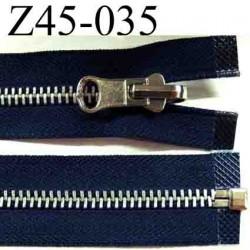 fermeture éclair réversible longueur 45 cm couleur bleu séparable  largeur 3 cm zip glissière métal largeur du zip 6 mm