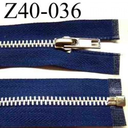 fermeture éclair  longueur 40 cm couleur bleu séparable  largeur 3 cm zip glissière nylon largeur du zip 6 mm