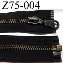 fermeture éclair longueur 75 cm couleur noir anthracite séparable largeur 3 cm zip glissière métal largeur 6 mm