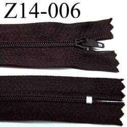 fermeture éclair  longueur 14 cm couleur marron non séparable largeur 2.5 centimètres zip métal largeur 4 mm