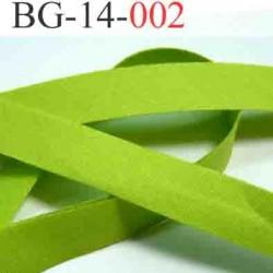 biais galon ruban passe poil couleur vert anis  largeur 14 mm vendu au mètre